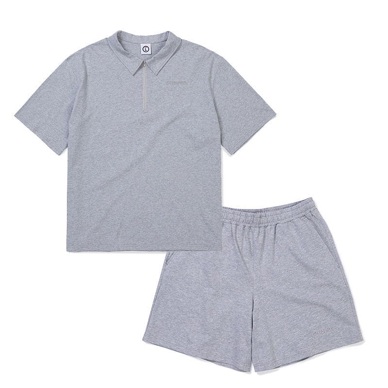 POINT COTTON SHIRTS &PANTS GRAY SET-UP