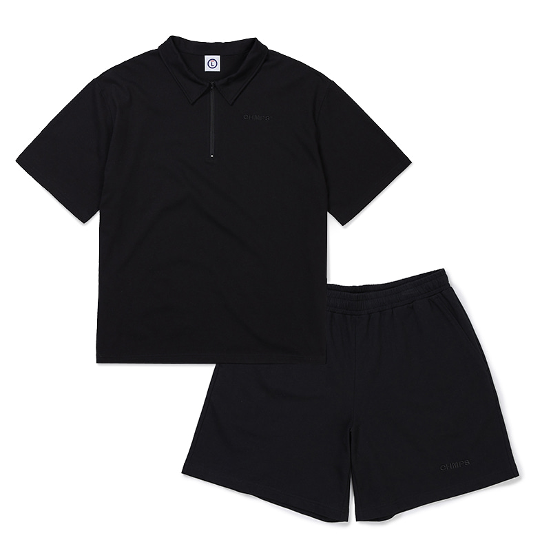 POINT COTTON SHIRTS &PANTS BLACK SET-UP