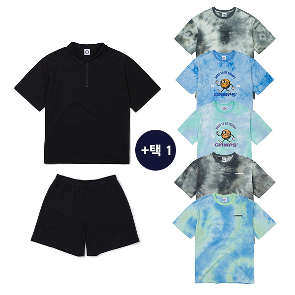 POINT COTTON SET-UP BLACK & TIE-DYE